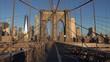 View of Manhattan buildings from  Brooklyn Bridge, New York, USA