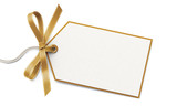 Fototapety Blank gift tag and golden ribbon bow with gold border