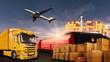 Quadro Warentransport mit LKW, Flugzeug, Schiff und Bahn