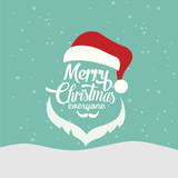 Merry Christmas vector illustration. Xmas lettering with snowflakes, hand drawn spray, uneven dots texture. Greeting inscription, card design, typography composition, winter background.
