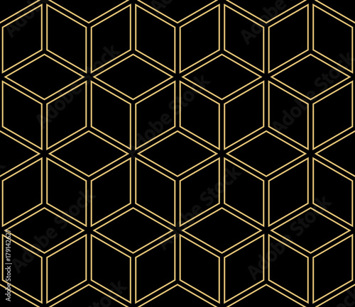 Vector Modern Seamless Geometric Pattern with Cube. Abstract geometry. For Background, Fashion Print. Hipster design. Black, Gold color - 179142627