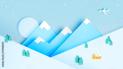 Aluminium Pool Winter landscape with paper art style and pastel color scheme