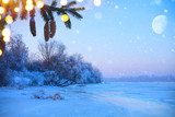 Merry christmas and happy new year: greeting background.Winter landscape with snowy christmas trees and holidays light - 179152897