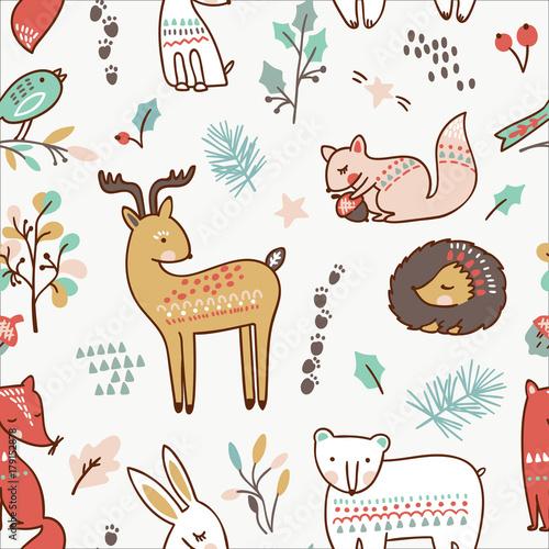 Cotton fabric Winter animal seamless pattern