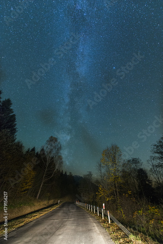 Foto op Aluminium Nasa Night sky with stars over road
