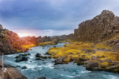 River Oxara near the Oxarafoss waterfall - 179158655