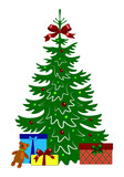 Decorated christmas tree with gift boxes and teddy bear. Template for design, greeting card, invitation. Xmas card vector illustration isolated on white background.