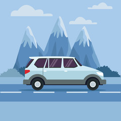 Vehicle in highway icon vector illustration graphic