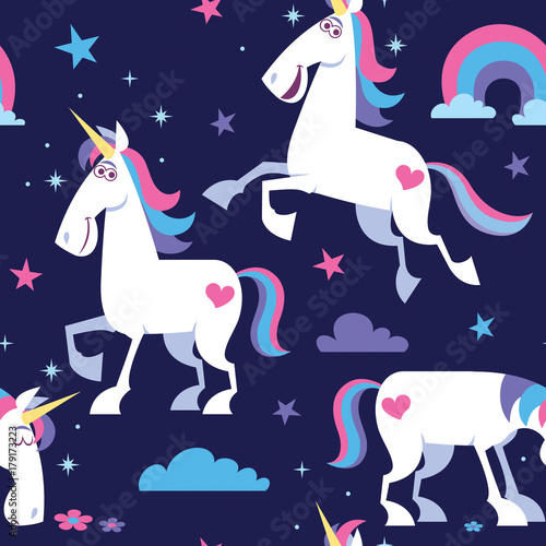 Cotton fabric Unicorn Seamless Pattern / Seamless pattern with cartoon unicorn, stars, clouds and rainbow.