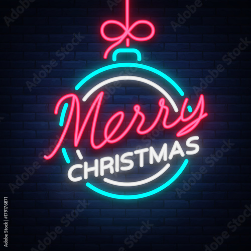 merry christmas and a happy new year greeting card or invitation pattern in neon style