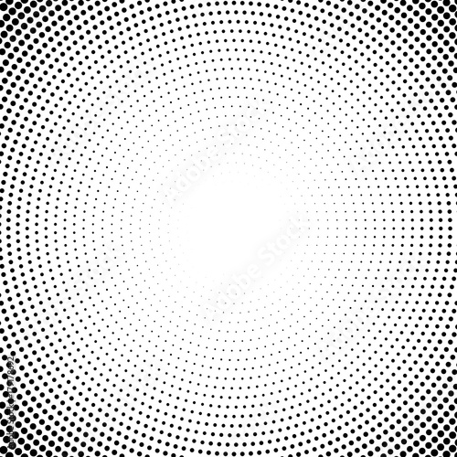 Fotobehang Pop Art Halftone dotted background circularly distributed. Halftone effect vector pattern. Circle dots isolated on the white background.