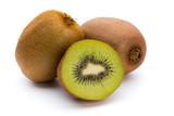 Kiwi fruit and sliced isolated on white background.
