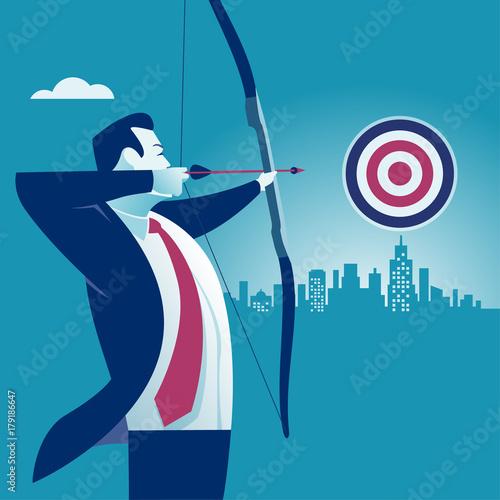 Sticker Businessman aiming target. Concept business vector illustration.