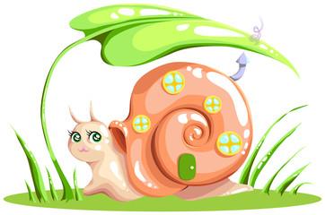 snail with a peach house