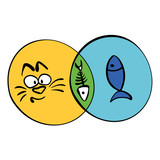 Cat And Fish Interaction Intersecting Circles Infographic Wall Sticker
