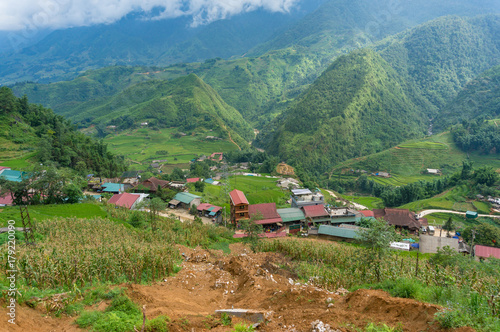Papiers peints Kaki Aerial view of Asian countryside landscape