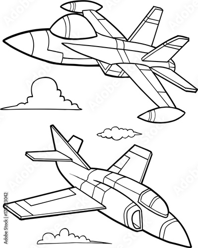 Staande foto Cartoon draw Cute Military Aircraft Vector Illustration Art