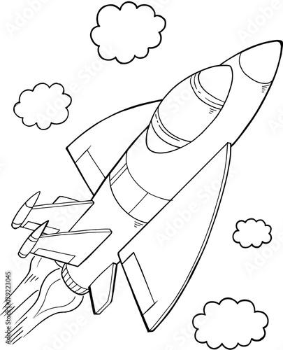 Foto op Aluminium Cartoon draw Cute Aircraft Vector Illustration Art