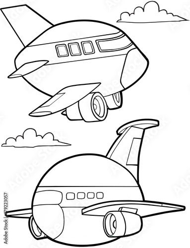 Papiers peints Cartoon draw Cute Aircraft Vector Illustration Art