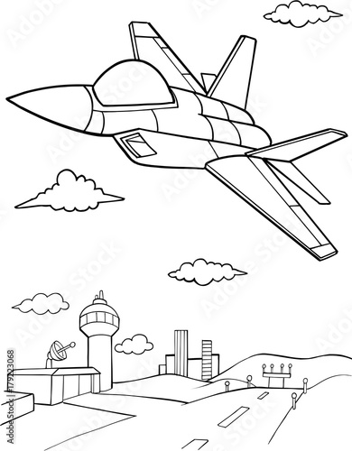 In de dag Cartoon draw Jet Aircraft Vector illustration Art