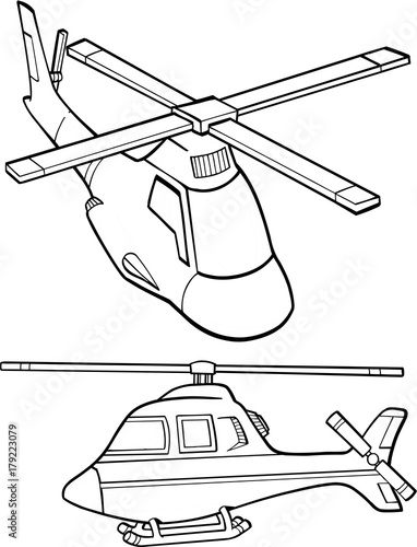 Staande foto Cartoon draw Cute Helicopters Vector illustration Art
