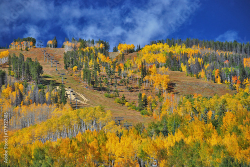 Papiers peints Miel Fall Colors in Colorado mix in with a ski slope