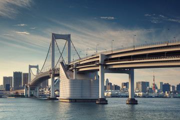 Tokyo. Cityscape image of Tokyo, Japan with Rainbow Bridge.