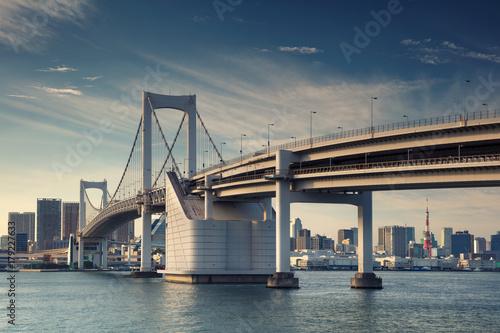 Fotobehang Tokio Tokyo. Cityscape image of Tokyo, Japan with Rainbow Bridge.