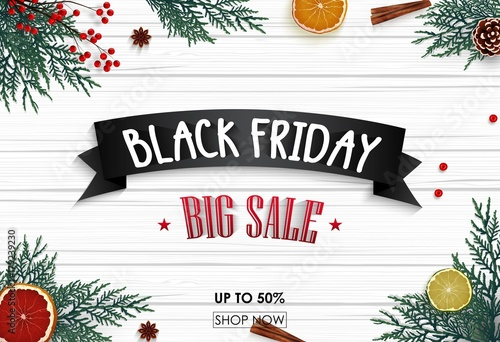 black friday sale banner with christmas decoration on wooden background - Black Friday Christmas Decorations