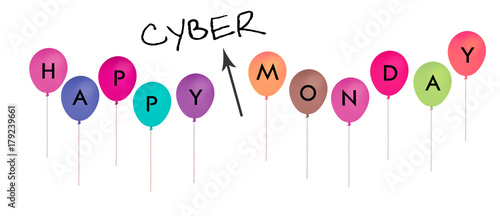 Cyber Monday happy balloons isolated on white.