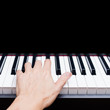 male musician hands playing on piano keys - 179240603