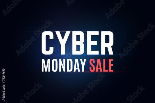 Annual cyber monday sale illustration. Dark glowing blue background