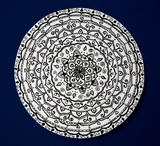 Mandala flower black and white on blue background