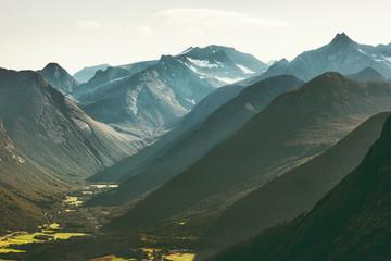 Mountains Landscape view from Romsdalseggen ridge in Norway Travel scenery scandinavian nature
