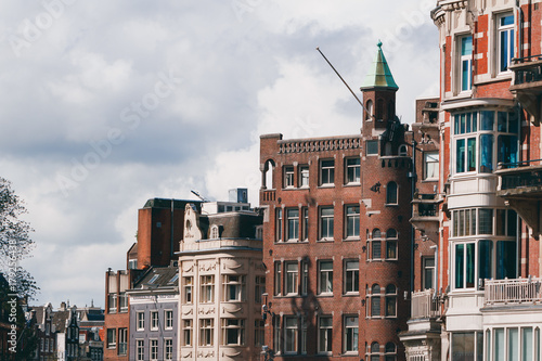 Foto op Plexiglas Amsterdam View of beautiful medieval architecture in Amsterdam, Holland, Europe.