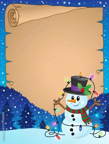Papiers peints Enfants Parchment with Christmas snowman theme 3