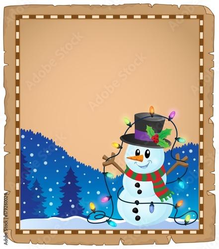Papiers peints Enfants Parchment with Christmas snowman theme 4