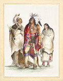 Old watercolor illustration of a North American indian family dressing traditional clothes and traditional items. By G. Catlin, Catlin's North American Indian Portfolio, Ackerman, 1845 - 179265258