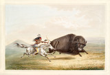 Old watercolor illustration of a native indian, on his horse, hunting a big buffalo. By G. Catlin, publ. on Catlin's North American Indian Portfolio, Ackerman, New York, 1845 - 179265296