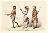 Native indian guys dressing the ball player traditional costumes. Old watercolor illustration by G. Catlin, Catlin's North American Indian Portfolio, Ackerman, New York, 1845 - 179265499