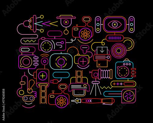 Foto op Plexiglas Abstractie Art Photo Equipment neon