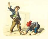 Ancient kids playing outdoor with spinning tops. By F. Palizzi, Usi e Costumi di Napoli e contorni dipinti e descritti, Nobile, Napoli, 1853-58 - 179268033