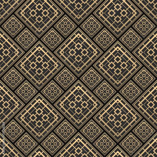 Fototapeta Seamless pattern in Art Deco style. Black and golden tilework. 3d effect ceramic tiles. Luxury background.