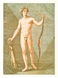 Human anatomy. Male body posing naked holding a bow and arrows with both his hands. By A.E. Gautier D'Agoty in Cours complet d'anatomie, publ. Leclerc, Nancy, 1773 - 179268820