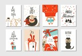 Hand drawn vector abstract fun Merry Christmas time cartoon cards collection set with cute illustrations,surprise gift boxes,dogs and handwritten modern calligraphy text isolated on white background - 179269233