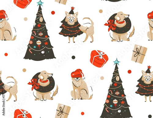 Cotton fabric Hand drawn vector abstract fun Merry Christmas time cartoon illustration seamless pattern with many pet dogs in holidays costume and xmas trees isolated on white background