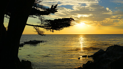 Sunset sky over the Pacific Ocean in Carmel-by-the-Sea, California