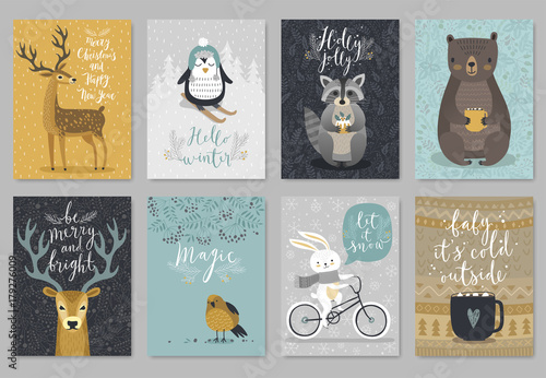 Christmas animals card set, hand drawn style.. - 179276009