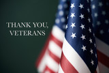 text thank you veterans and american flags - 179283479