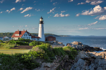 Portland Lighthouse at sunset, Cape Elizabeth, Maine, USA.